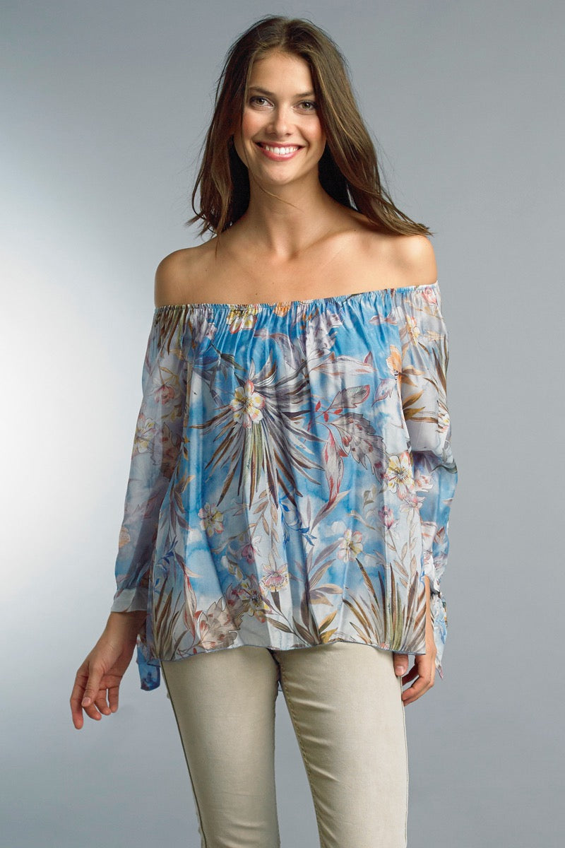 Silk Floral Convertible Blouse
