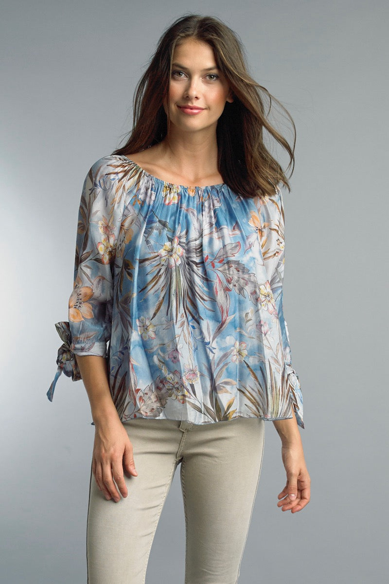 LAST CALL SIZE L | Silk Floral Convertible Blouse