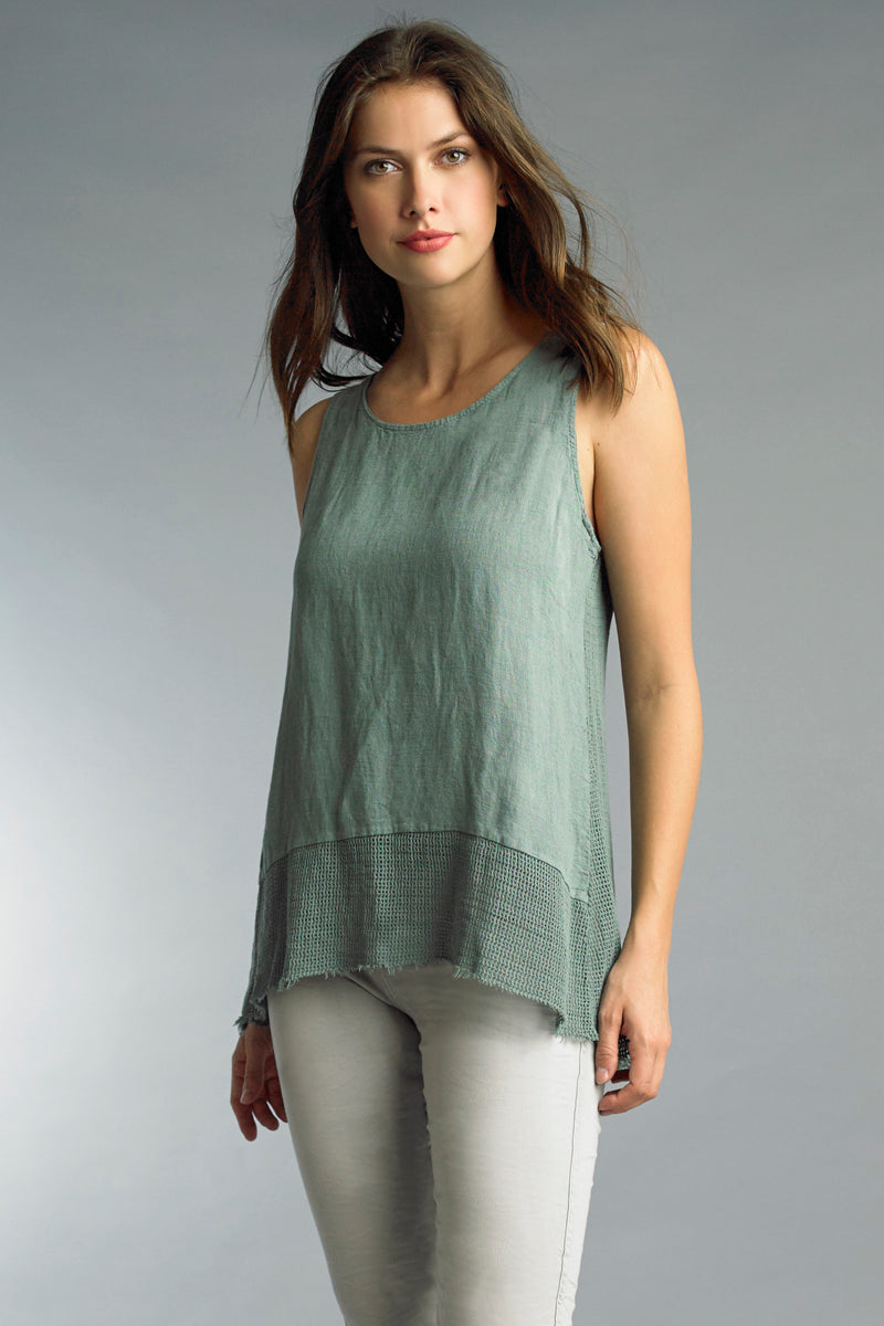 High Low Linen Tank in Sage