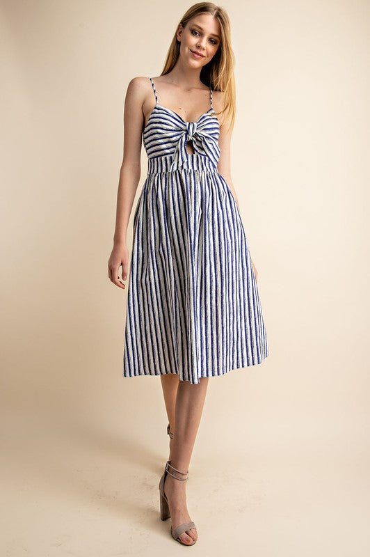 LAST CALL SIZE L | Striped Tie-Front Midi Dress