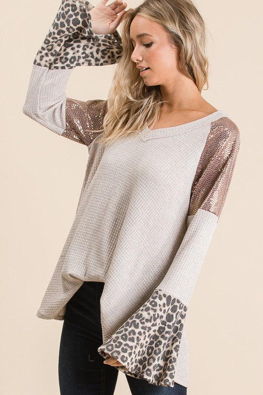 Waffle Tunic with Sequins Leopard Oatmeal