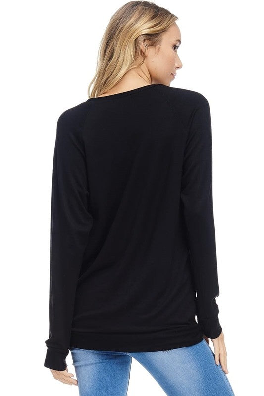 LAST CALL SIZE L | Mistletoe and Margaritas Long Sleeve Holiday Top in Black