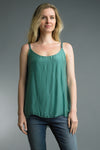 Silk Strappy Tank Top in Mint
