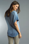 V-Neck Cotton T-Shirt with Embossed Wings Pocket in Washed Blue