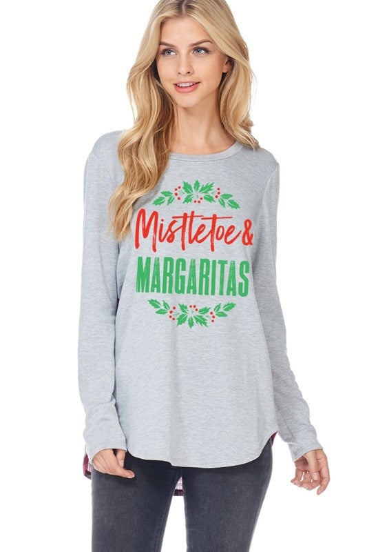 LAST CALL SIZE S | Mistletoe and Margaritas Long Sleeve Holiday Top
