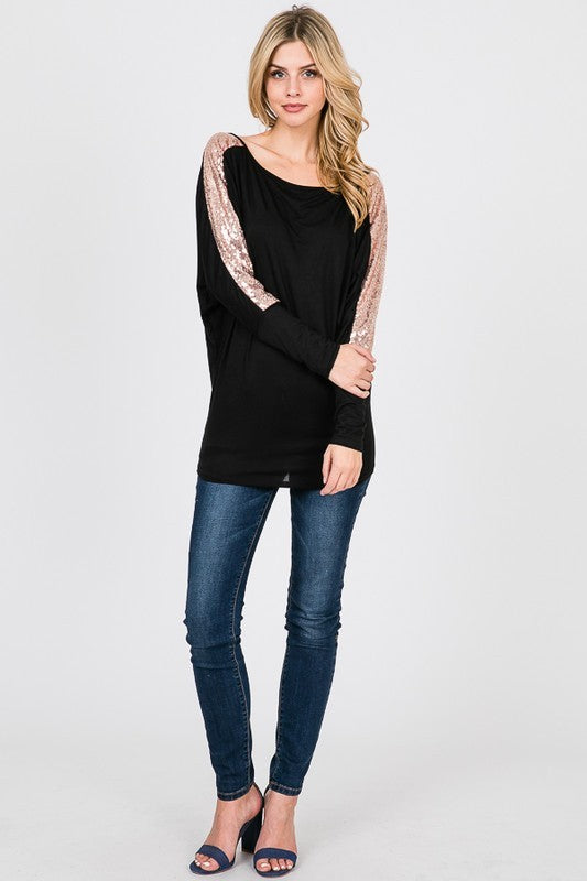 Off-Shoulder Top with Sequin Sleeves in Black