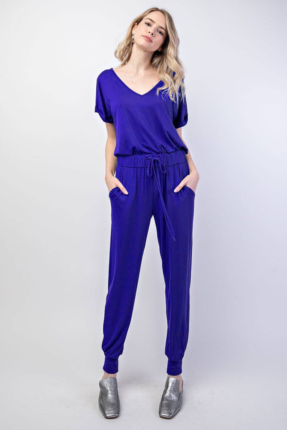 Short Sleeve Knit Jogger Jumpsuit - Available in Royal Blue & Black