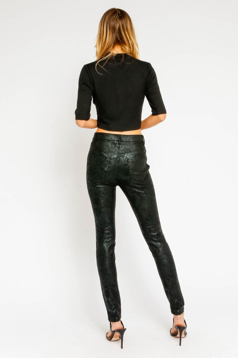 LAST CALL - Size M | Vegan Leather Snake Embossed Pants