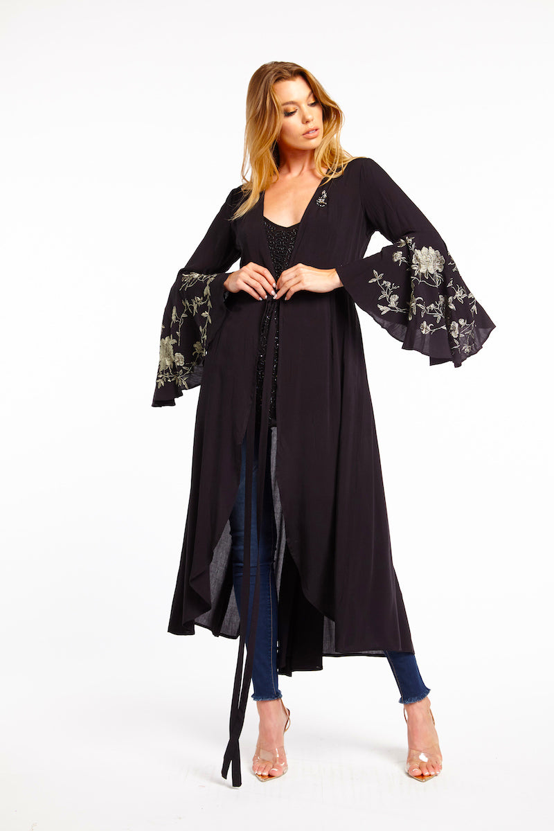 LAST CALL SIZE S | Embroidered Maxi Kimono in Black