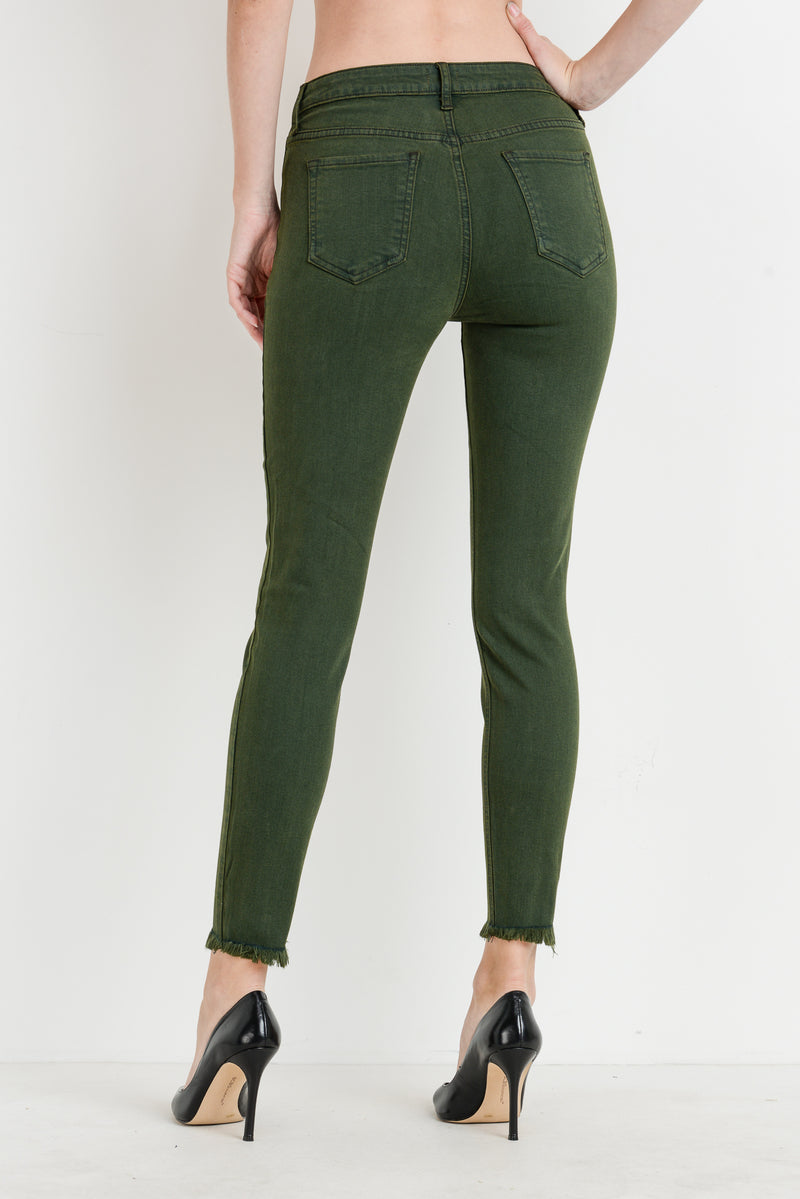 Button Down Skinny Jeans in Olive