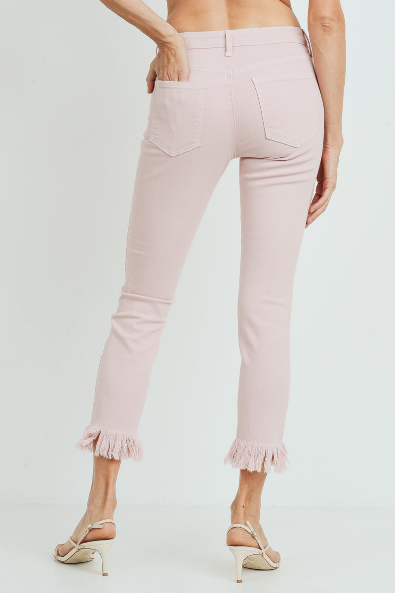 Cropped Skinny Jeans with Frayed Hem in Pastel Pink Back