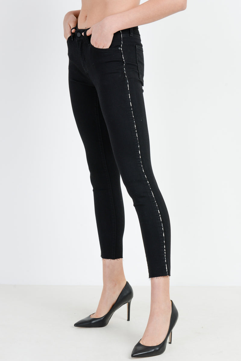 Leopard Piping Black Skinny Jeans
