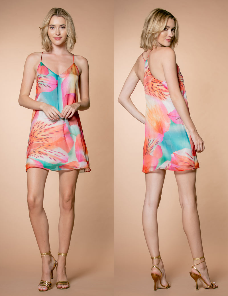 Tropical Floral Print Racerback Mini Dress Front and Back