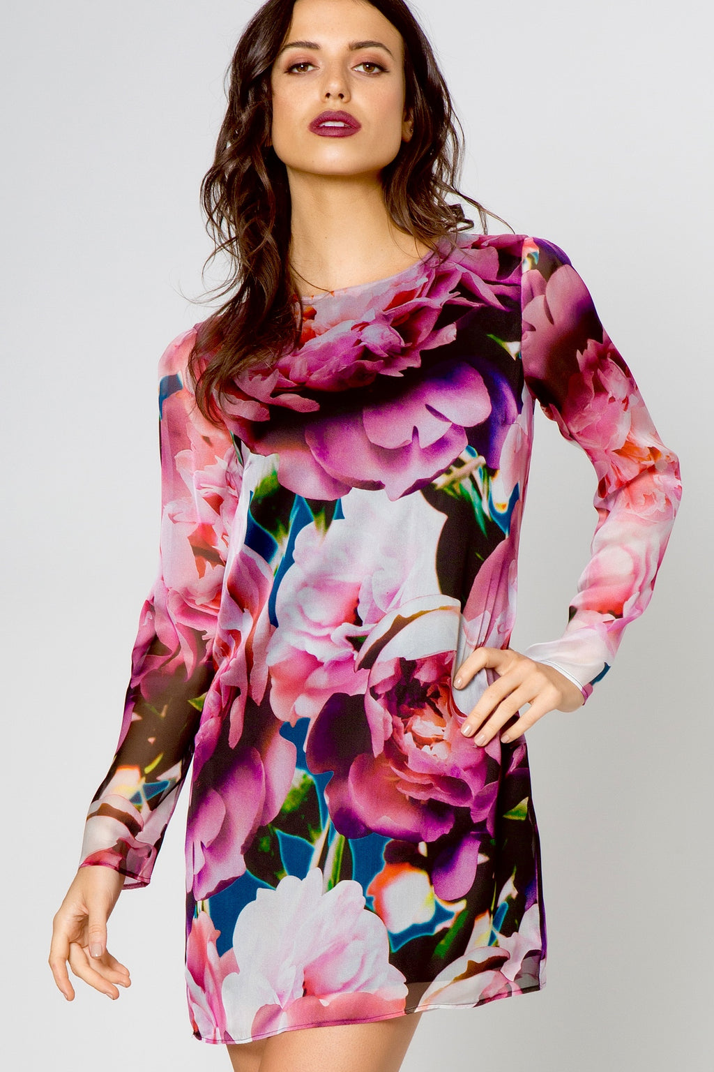 Peony Print Long Sleeve Dress