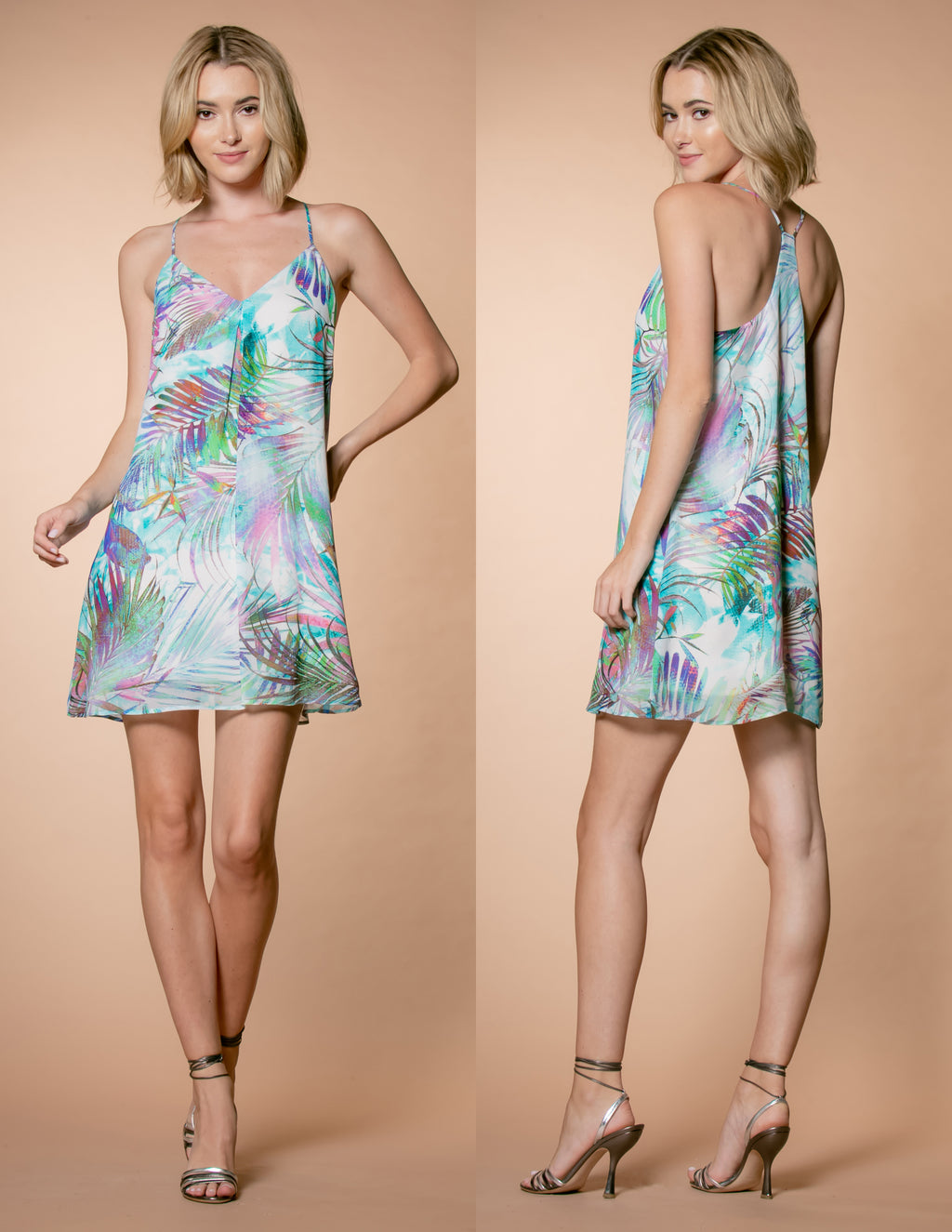 Tropical Leaf Print Racerback Mini Dress Front and Back