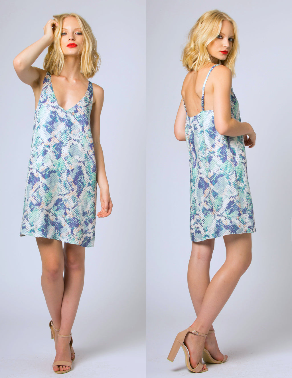 LAST CALL SIZE L | Snake Print V-Neck Sleeveless Dress