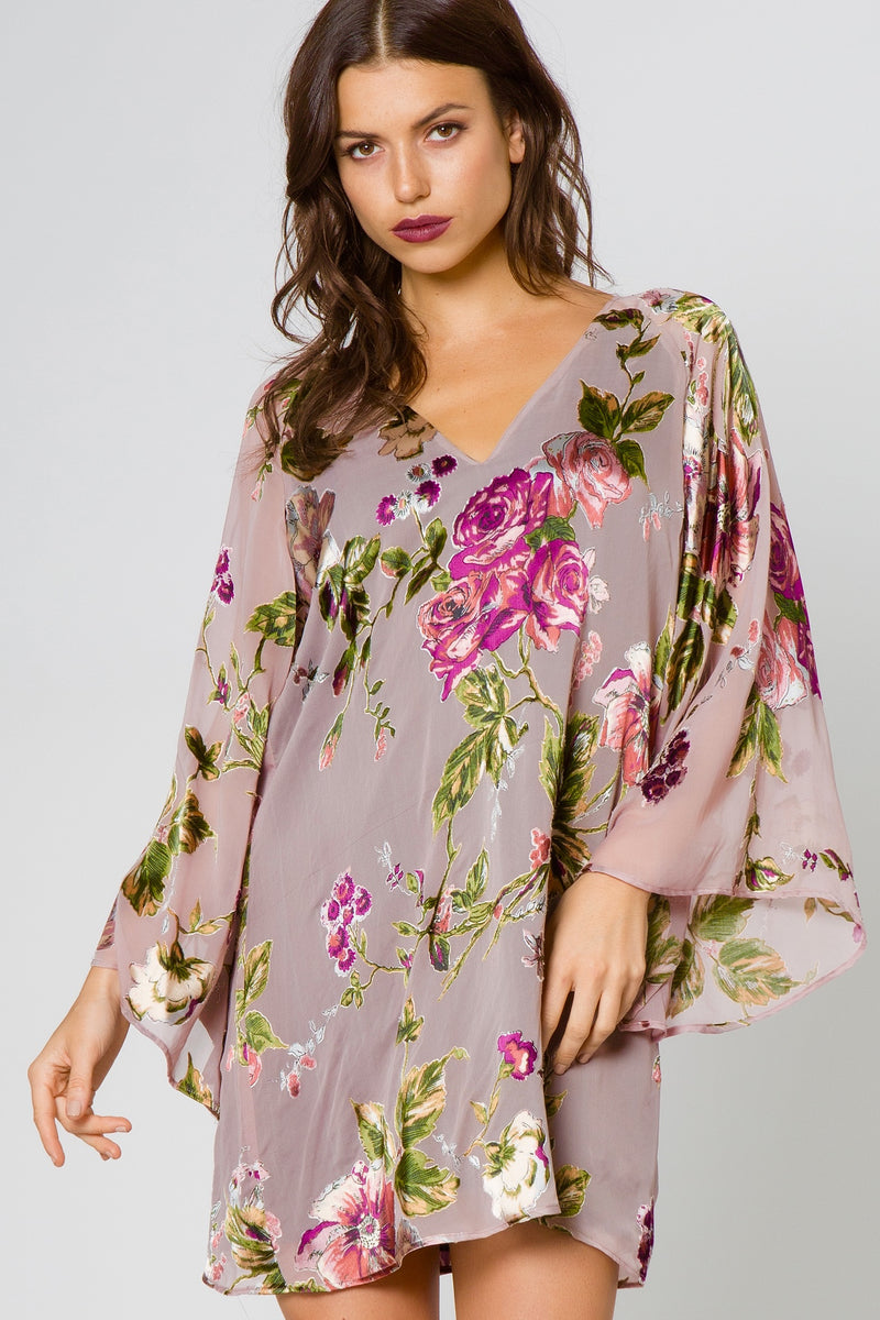 Floral Burnout V-Neck Dress