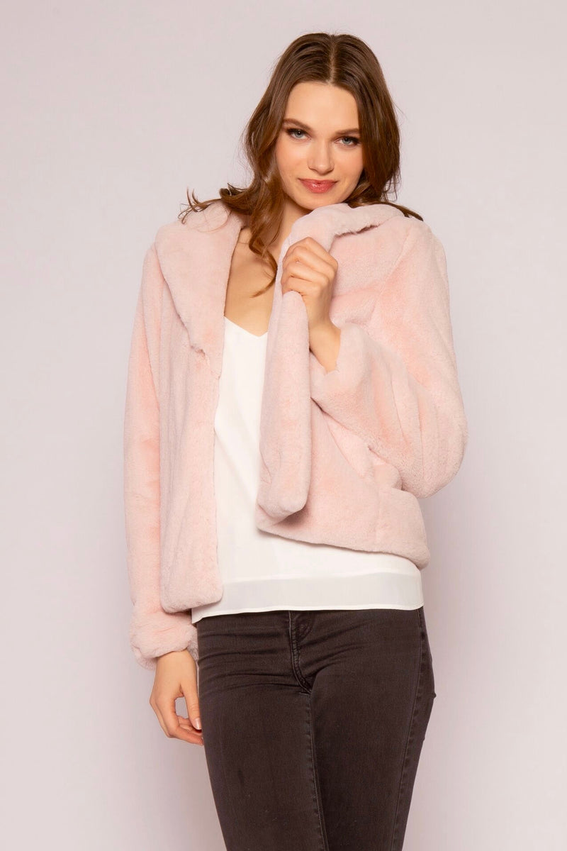 Luxurious Plush Blush Faux Fur Coat Front