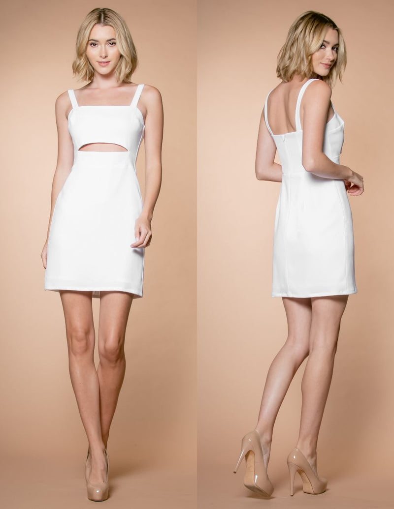 Keyhole Cutout Cocktail Dress Front and Back