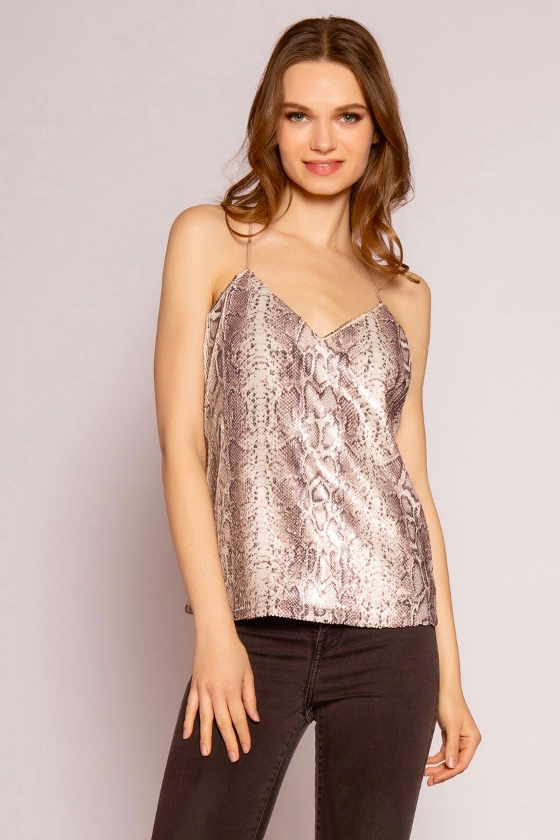 Sequin Snake Print & Reversible Gold Sequin Sleeveless Top