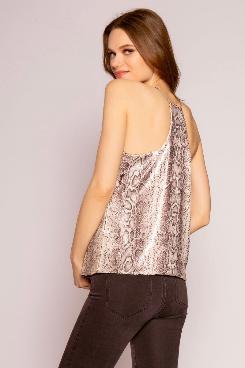 Sequin Snake Print & Reversible Gold Sequin Sleeveless Top Back