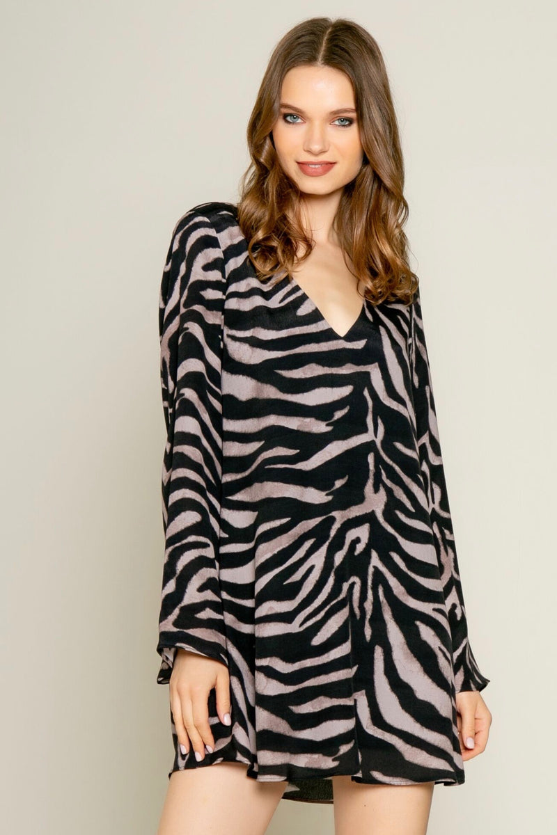 Long Bell Sleeve Zebra Print Dress