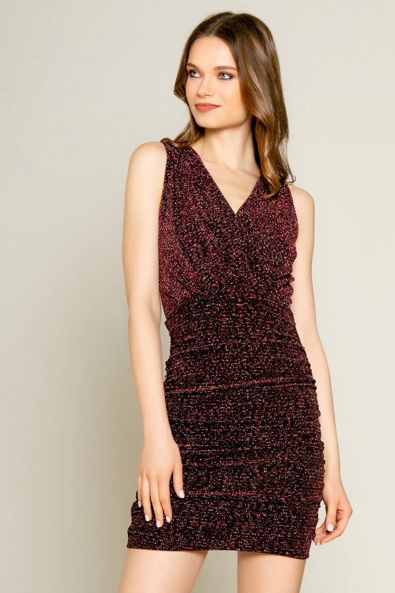 Show Me the Sparkle Dark Burgundy Bodycon Dress Front