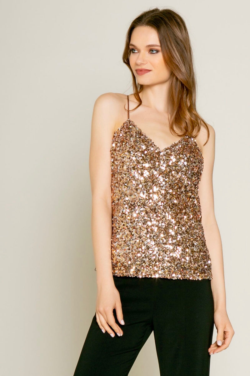 Rose Gold Sequin Cami Top