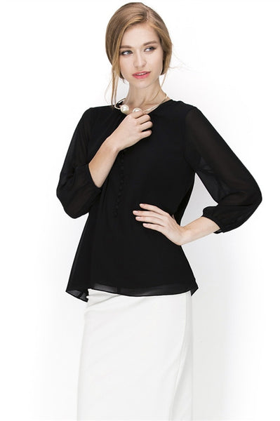 LAST CALL SIZE M | Keyhole Button Front Blouse in Black