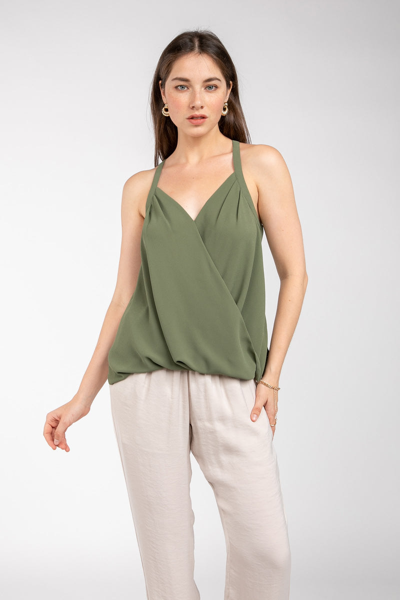 Faux Wrap Tank Top in Light Olive Green