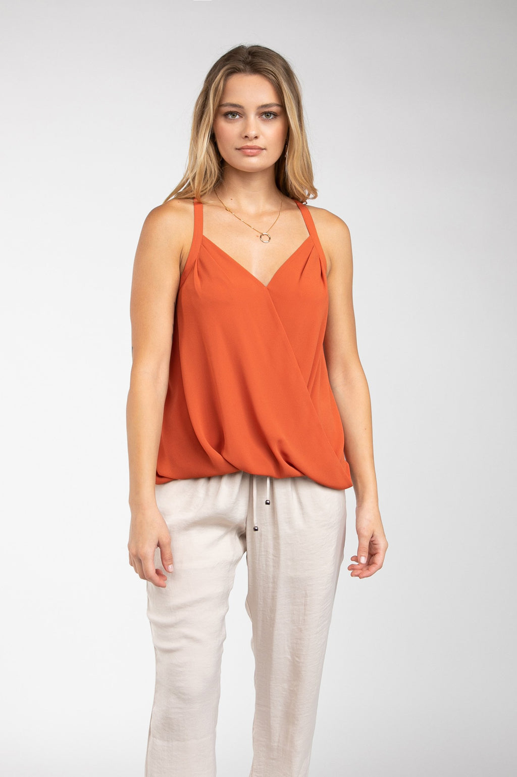 LAST CALL SIZE L | Faux Wrap Tank Top in Maple Leaf