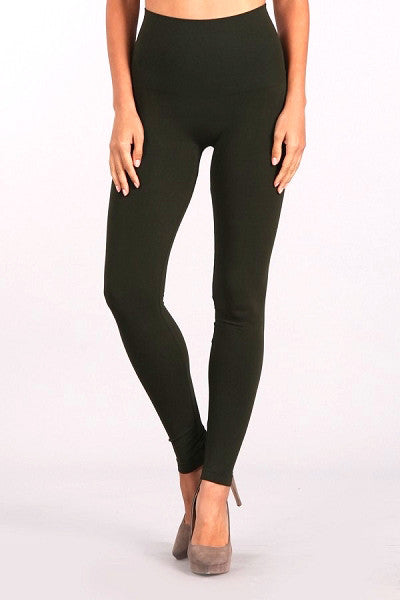 LAST CALL SIZE OS | High Waist Tummy Tuck Leggings in Olive