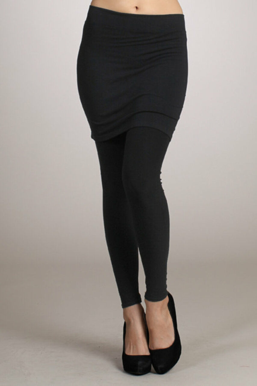 Pencil Skirt with Built-In Leggings in Black