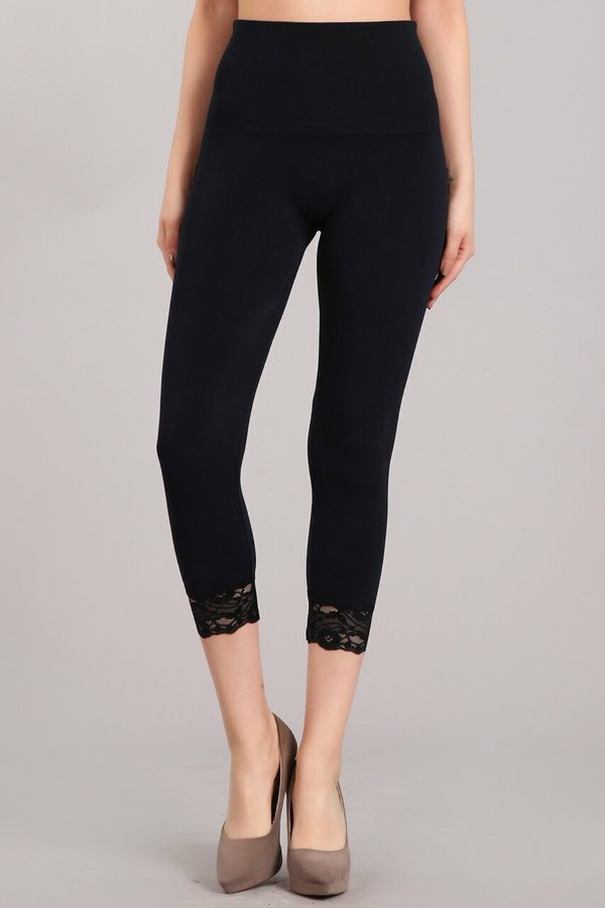 High Waist Cropped Lace Hem Leggings in Navy