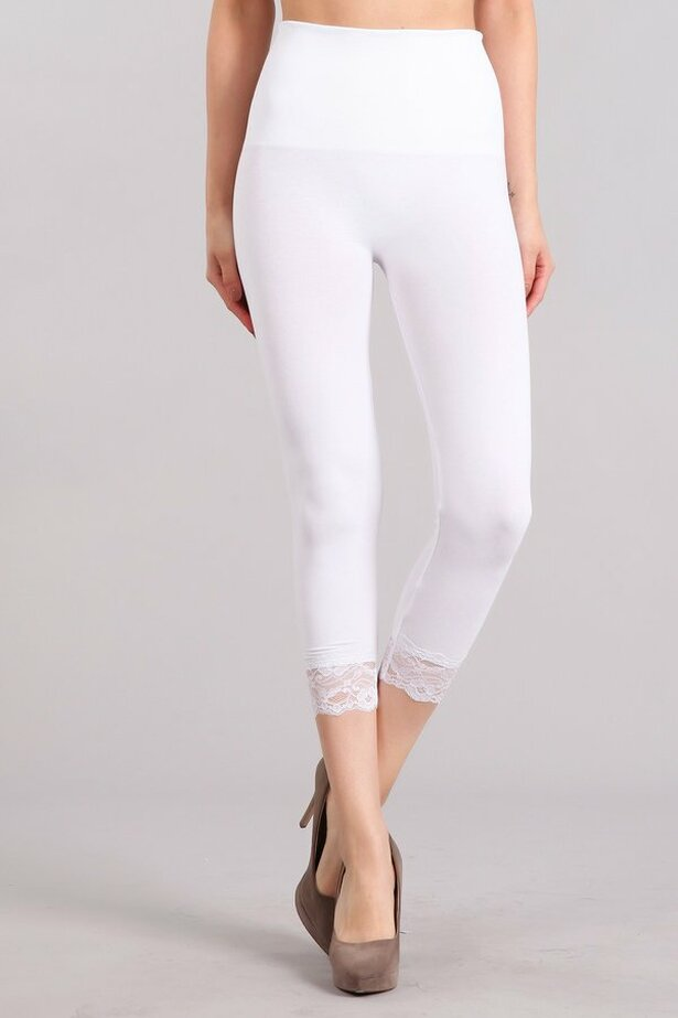 High Waist Cropped Lace Hem Leggings in White