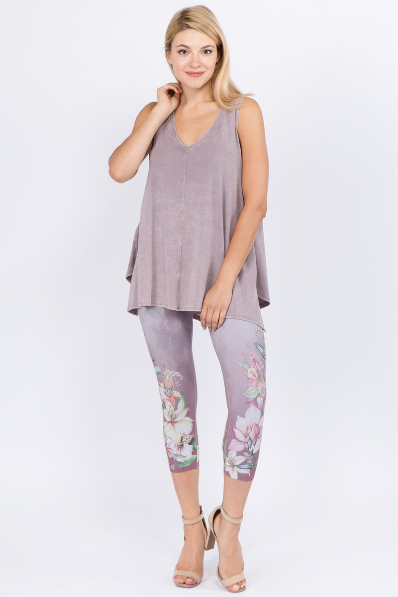 Cropped Legging with Orchid Paisley Print