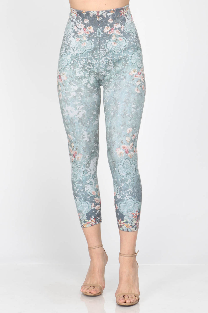 Jade Garden Print Cropped Leggings