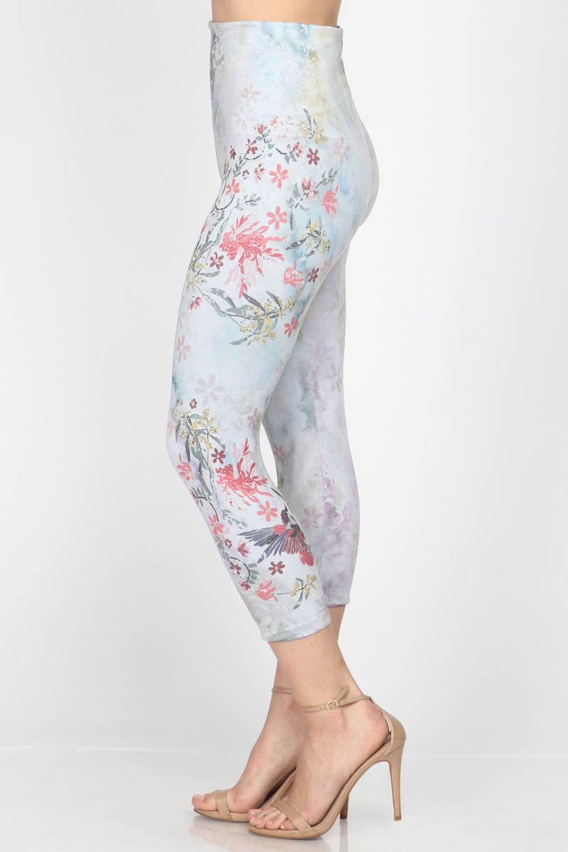 LAST CALL SIZE OS | Hummingbird Print Cropped Leggings