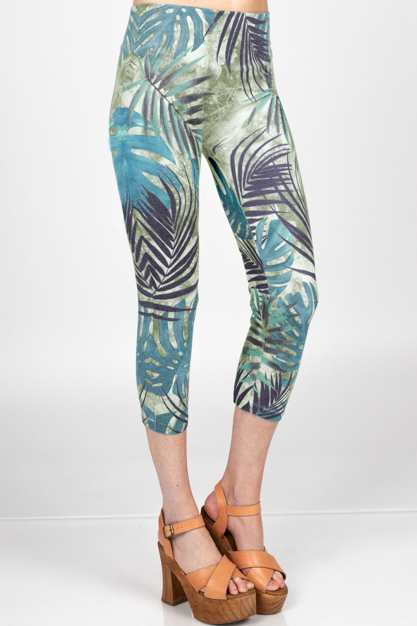 Tropical Palm Print Cropped Leggings