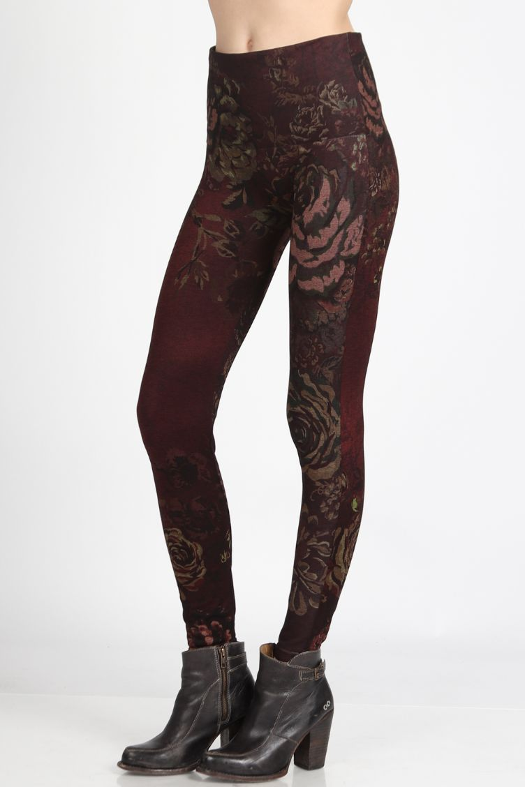 Merlot Rose Print Leggings