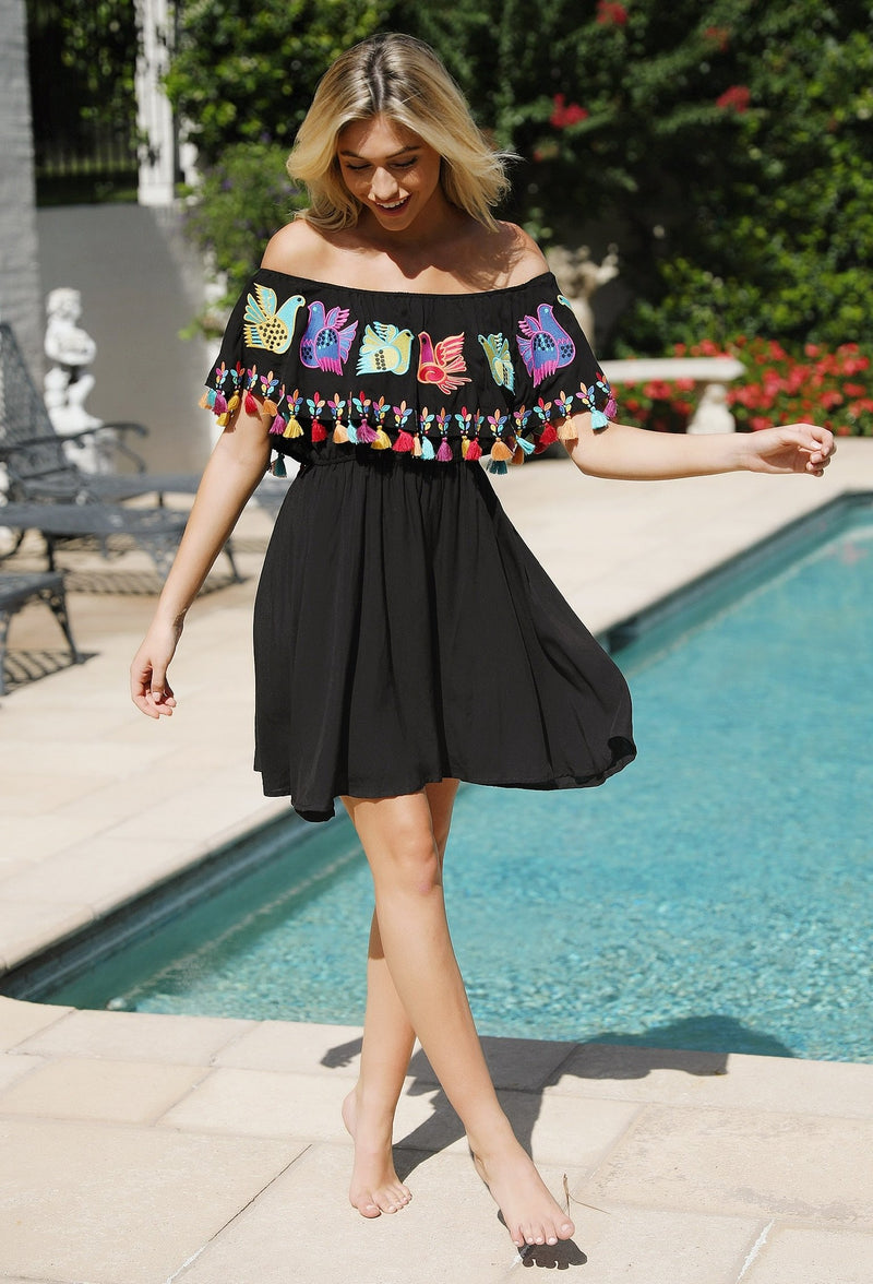Off Shoulder Embroidered Convertible Dress