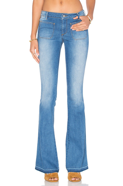 Distressed Flare Light Wash Flare Jeans- Front