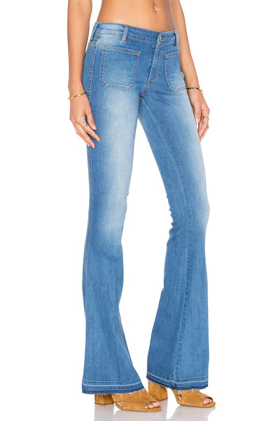 Distressed Flare Light Wash Flare Jeans- Side