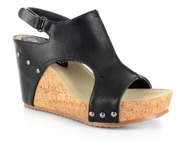 Black Vegan Leather & Cork Rivet Wedges