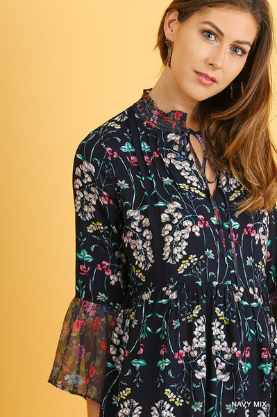 Floral Bell Sleeve Tunic Dress with Tie Neck in Navy