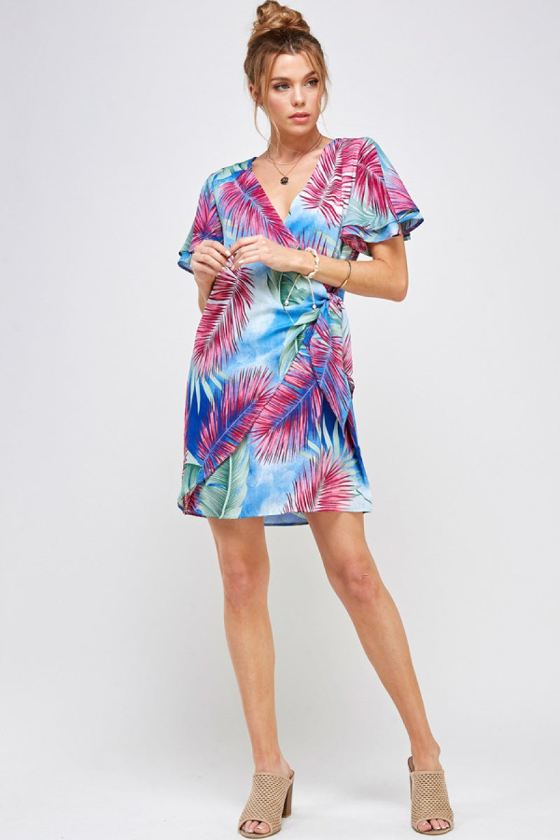 LAST CALL SIZE L | Tropical Print Wrap Dress
