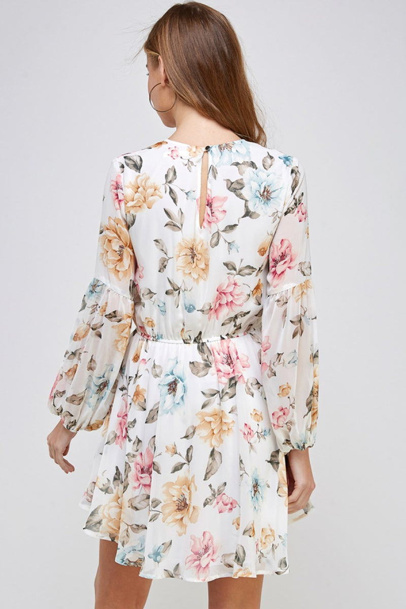 Floral Print Long Sleeve Fit-n-Flare Dress