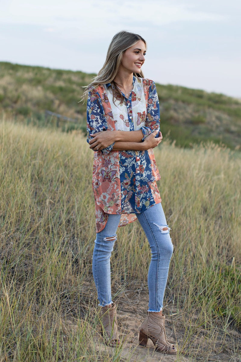 Butterfly Button Down Tunic Top