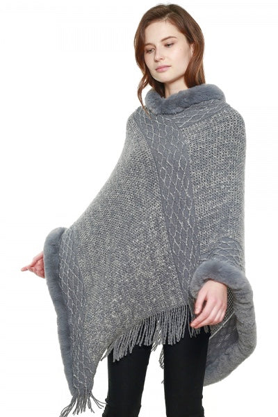 Knit Poncho with Faux Fur Trim in Grey