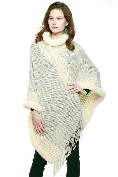 Knit Poncho with Faux Fur Trim in Cream